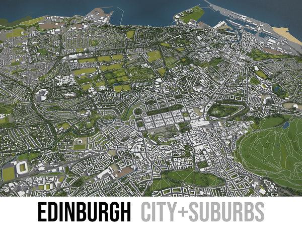 city edinburgh surrounding - 3D model