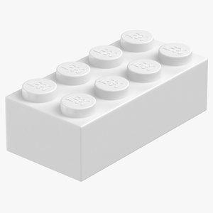 lego brick 2x4 white 3D model