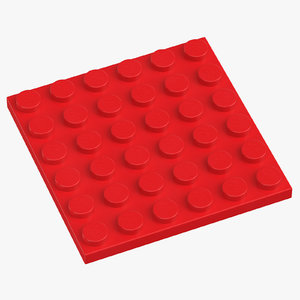 lego plate 6x6 bright 3D