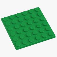 lego plate 6x6 earth 3D
