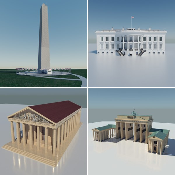 3D white house monument gate model