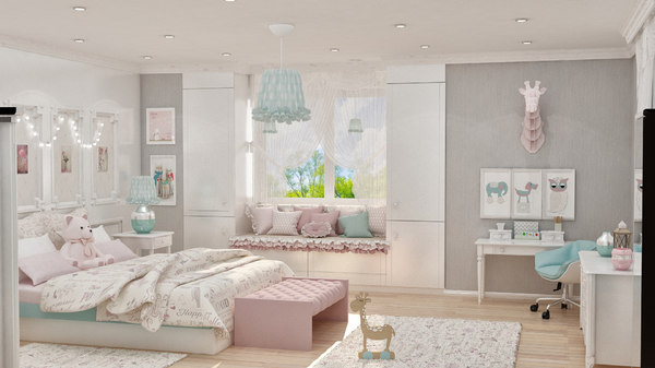 girls bedroom design 3D model