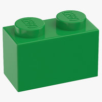 3D lego brick 1x2 earth model