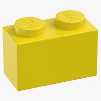 lego brick 1x2 flame 3D