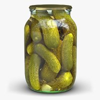 glass jar pickled cucumbers 3D