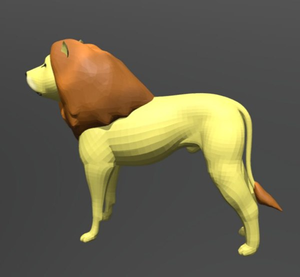 3D lion animals mammals