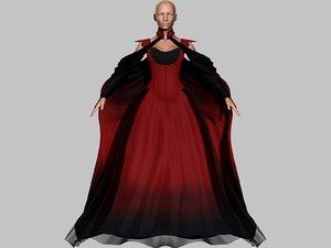 3D victorian gothic dress 5