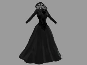 victorian gothic dress 4 3D model