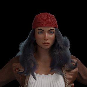 female pirate character model