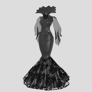3D model victorian gothic dress