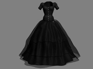 3D victorian gothic dress 3