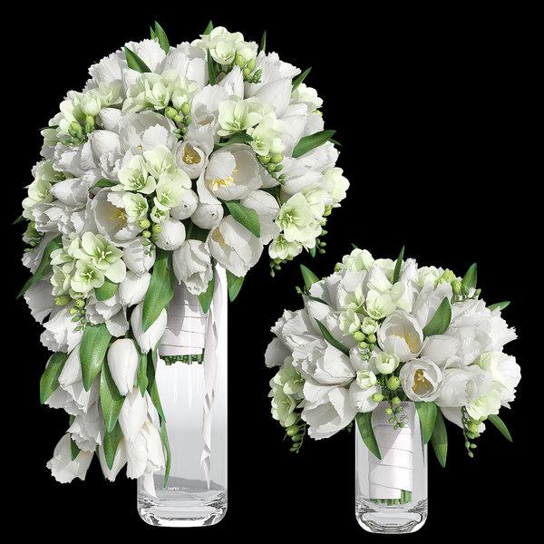 bridal bouquet tulip 3D model