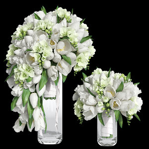 bridal bouquet tulip 3D model