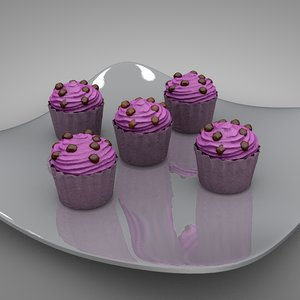 3D cup cakes pink l126