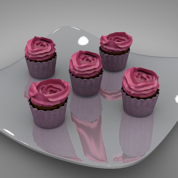 3D cup cakes roses l127 model