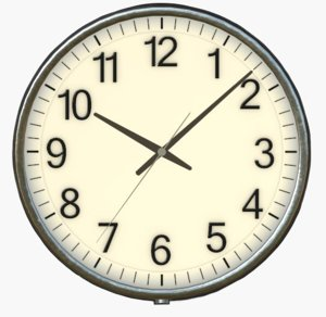 3D model school clock pbr