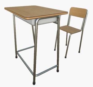 3D model school desk chair pbr