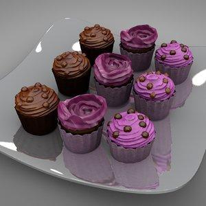 3D model cup cakes 3 flavors