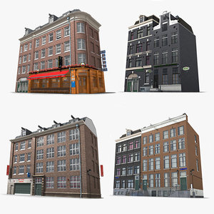 photorealistic buildings set hotel 3D model