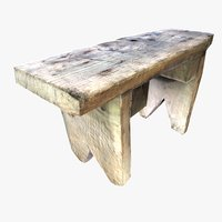 vintage square wooden stool 3D