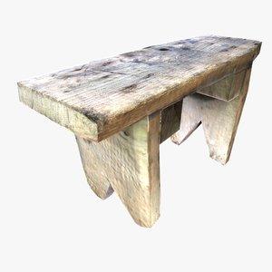vintage square wooden stool 3D