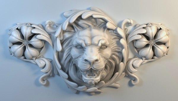3D stucco lion cnc model