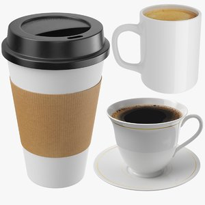 3D coffee cups