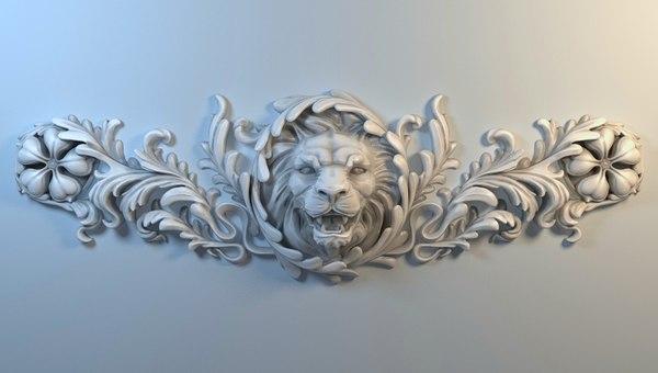 stucco lion cnc 3D