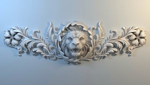 stucco lion cnc 3D
