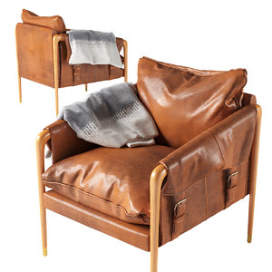 3D model havana leather chair anthropologie