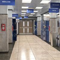 school hallway - 3D model