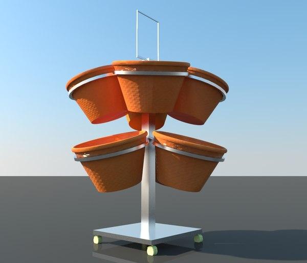 design supermarket vegetables basket model