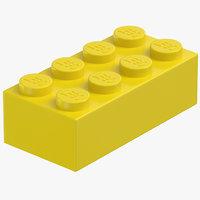 3D lego brick 2x4 flame