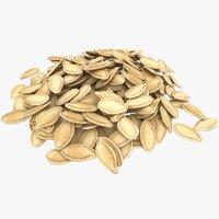 3D pumpkin seeds pile