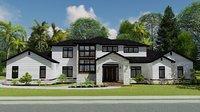 3D white modern house model