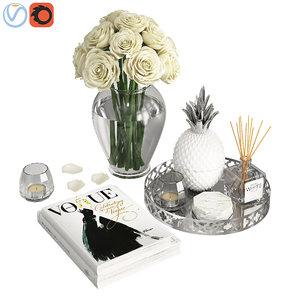 3D silver coffee table decor