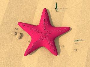 3D model cartoon starfish illustration