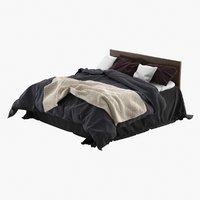 realistic bed linens crumpled 3D