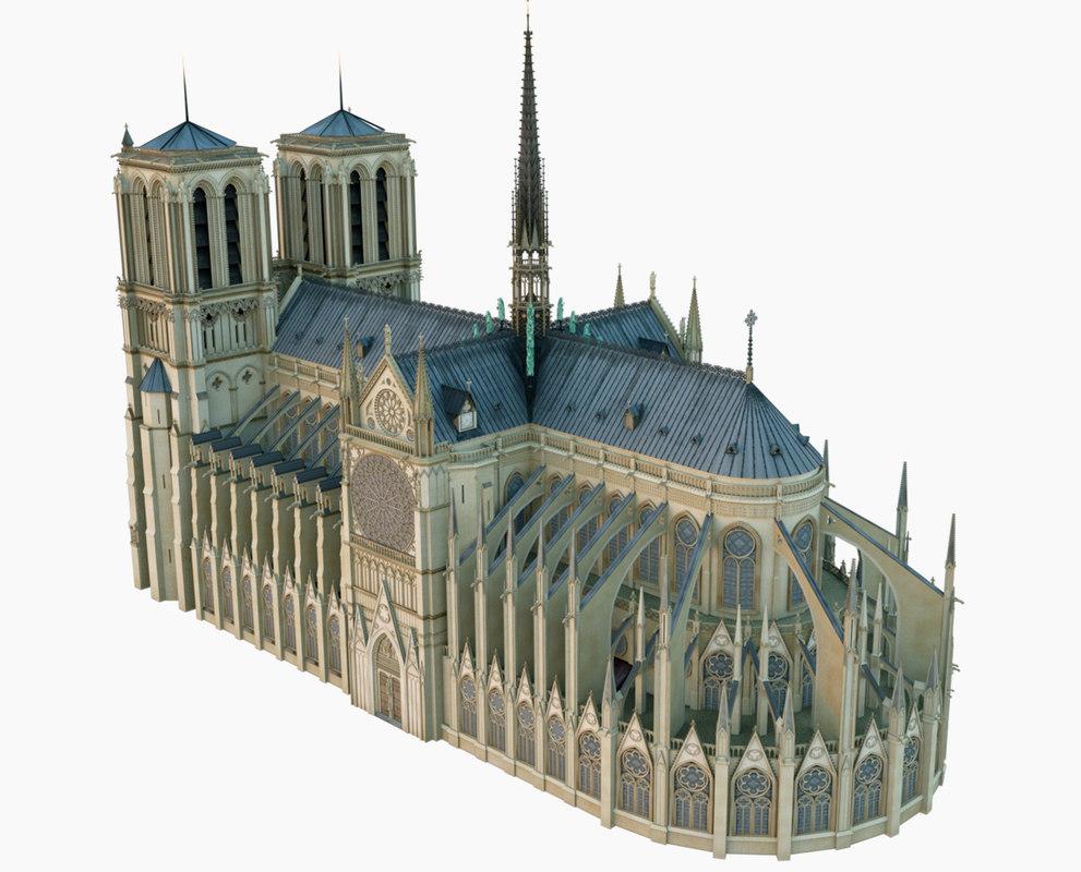 3D created notre dame paris