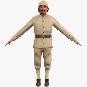 ottoman soldier ww1 rigged 3D model