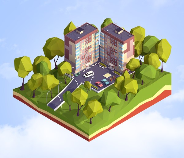 cartoon panel house 3D