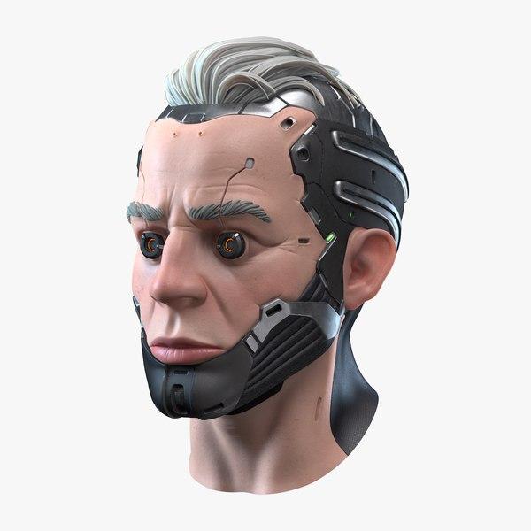 3D stylized cyborg head model