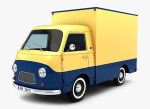 3D generic retro mini truck model