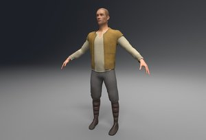 3D man peasant model