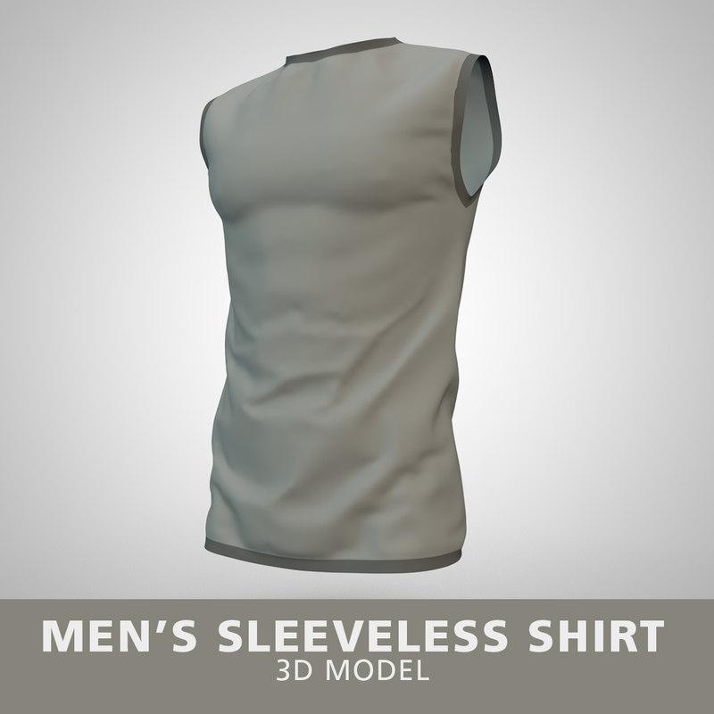 mens sleeveless shirt 3D model