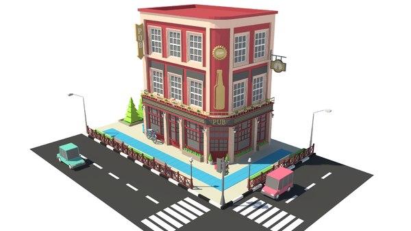 3D building bistro bar