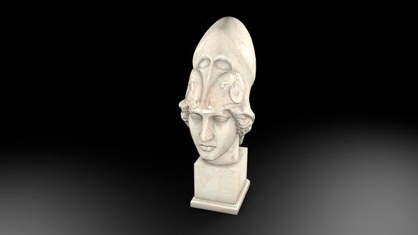 3D model atenea statue art sculpture