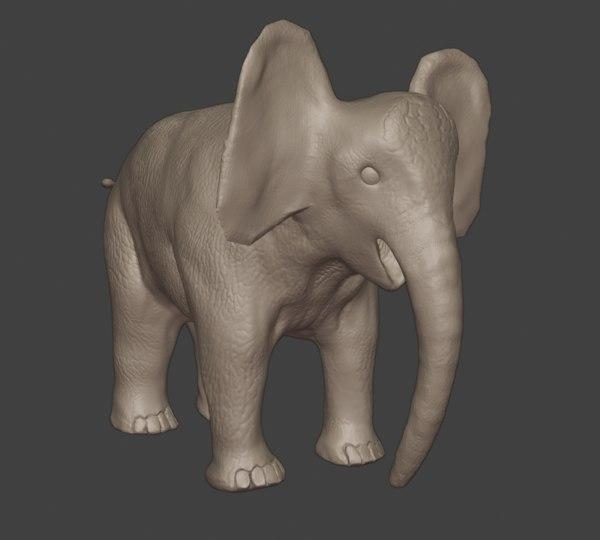 3D elephant animal mammal