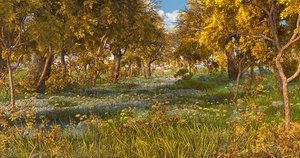 path forest autumn 3D model