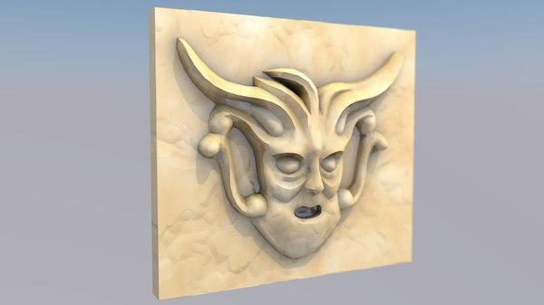 ornamental face sculpture 3D model